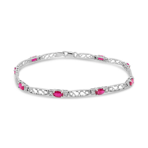 Ruby and Diamond Filigree Line Bracelet