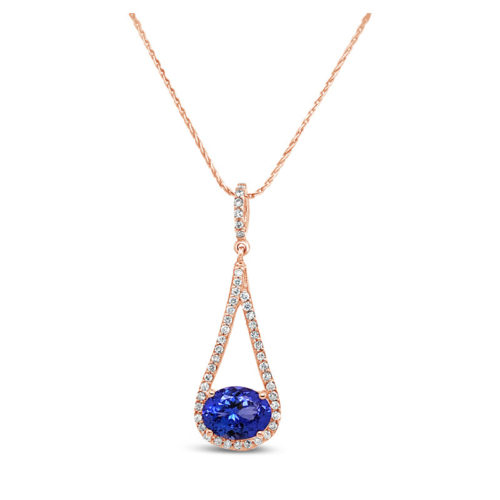Oval Tanzanite and Rose Gold Necklace