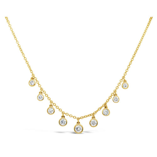 Facet Yellow Gold and Diamond Dangle Necklace