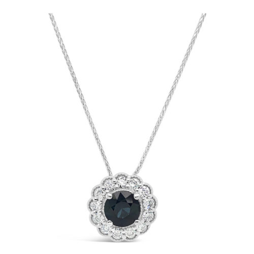 Diamond Halo and Sapphire Necklace