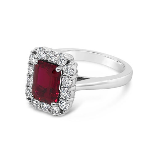 Emerald Cut, Chatham Ruby and Diamond Ring