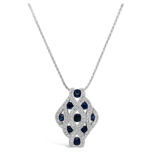 Woven Sapphire and Diamond Necklace