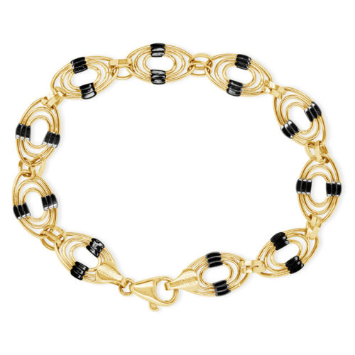 Two Tone Oval Link Gold Bracelet